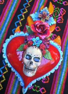 Dia de los Muertos Sacred Heart - mixed media