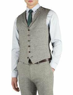 f1a7634b74ab21 Suit Direct Limehaus Grey Donegal Super Slim Waistcoat - Slim Fit Mixer  Waistcoat Grey 38R Suits