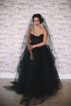 Black wedding dress and veil   Kelsey Daffern Photography