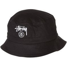 5a270209eaf STUSSY BASIC BUCKET HAT BLACK ( 30) ❤ liked on Polyvore featuring  accessories