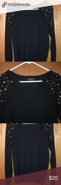 Black sweater with gold studs Bought from tj maxx. Size medium, tj maxx Sweaters Crew & Scoop Necks
