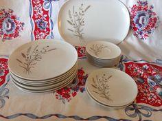Vintage Melmac Melamine Texas Ware Dinnerware Set- 19 Pieces- Tan Brown & White- Plates- Saucers- Platter- Floral Design