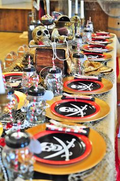 Guest tablescape from a Pirates of the Caribbean Birthday Party on Kara's Party Ideas | KarasPartyIdeas.com (44)