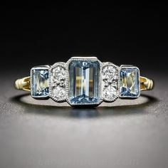 A trio of bright and beautiful, deep pastel-blue emerald-cut aquamarines, togeth. - A trio of bright and beautiful, deep pastel-blue emerald-cut aquamarines, together weighing car - Art Deco Wedding Rings, Art Deco Ring, Art Deco Jewelry, Fine Jewelry, Jewelry Design, Jewelry Rings, Pearl Jewelry, Silver Jewelry, Jewelry Accessories