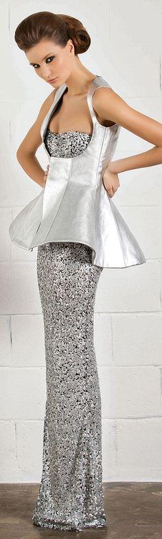 RANI ZAKHEM #silver #dress