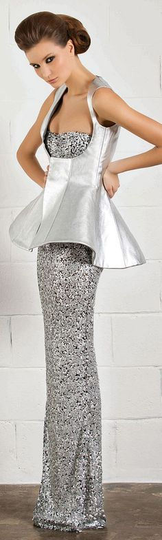 RANI ZAKHEM #silver #dress