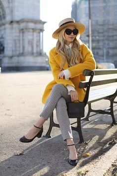 Yellow Coat: Sézane. Shoes: Sézane. Pants: Sézane. Both my pants and shoes are from La Liste, Sézane's more permanent, timeless collection. Shop all the La Liste pieces here. Bag: Blair Bag for FEED. Sunglasses: Elizabeth and James. Hat: Gucci