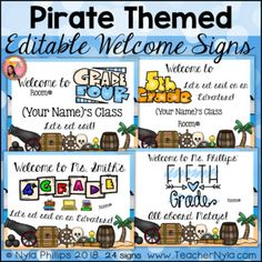 Editable Welcome Signs for K-5 - Pirate Theme
