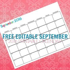 Free printable calendar September 2016 - Perfect for meal planning, kids activities,  exercise routines, cleaning schedule, etc.