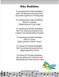babybumble bee lyrics printout - Kids education and learning acts Kindergarten Songs, Preschool Music, Preschool Learning, Preschool Movement Songs, Spring Songs For Preschool, Circle Time Ideas For Preschool, Preschool Transitions, Circle Time Activities, Kindergarten Graduation