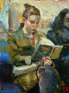 Equanimous, DARREN THOMPSON FINE ART.  Equanimousis part of a series to do with the female figure reading. The title suggests equal-tempered or poised by definition. A trait this figure has as she's reading while riding public transportation.