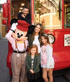 Mousin' Around! Jessica Alba, Cash Warren and Their Mini-Me Daughters Honor and Haven Pose with Mickey