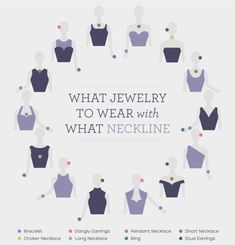 We'll admit it – sometimes it's hard to remember how to style all of our different summer necklines. Lucky for us, here's a quick visual guide! Diamond Choker Necklace, Dangly Earrings, Diamond Jewellery, Bridal Earrings, Diamond Rings, Hairstyle Curly, Necklace For Neckline, Necklace Guide, Different Necklines