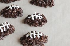 Kickoff any Super Bowl party with these Chocolate Football Cereal Cookies.