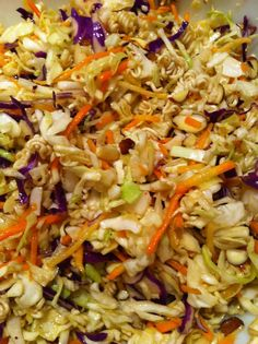 Crunchy Asian Slaw--16 oz pre-packaged cabbage cole slaw mix 2 oz slivered almonds 1 package ramen noodles 1/4 cup oil Scant 1/4 cup vinegar 1/4 cup sugar 1 Tbs red pepper flakes or 1 tsp Sriracha or nothing if you don't like a little heat