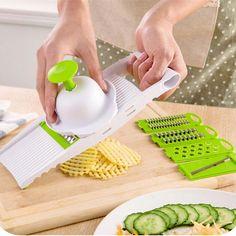 7 in 1 Plastic Vegetable Fruit Slicers Cutter Adjustable Stainless Steel Blades Multi-function ABS Peeler Grater Slicer KC1055