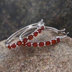 Jalisco Cherry Fire Opal Hoop Earrings in Platinum Overlay Sterling Silver (Nickel Free)