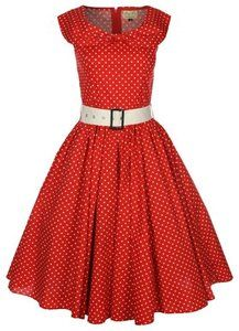 NEW RED POLKA DOT BOW SHAWL COLLAR VINTAGE 1950's ROCKABILLY SWING PARTY DRESS