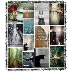 """""""Rain"""" by mozeemo (that's me, Monica Bourne). I created this on Polyvore together with many other artisitic and styling collages, too. It's great fun and there are some fabulous groups for scrapbookers and digital artists to share galleries and challenges. Polyvore has its own easy to use editing program. Why not join and have fun. I haven't been for a while but I'm now inspired to return and make a Christmas wall art collage. Bye for now. ;) Monica"""