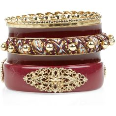 Red Aztec Print Gold Enamel Bangle Set (£3.50) ❤ liked on Polyvore featuring jewelry, bracelets, accessories, enamel jewelry, red jewellery, red bangles, gold jewelry and red gold jewelry