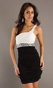 Short Ruched One Shoulder Black & White Dress
