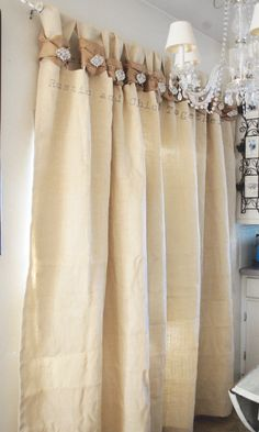 White Linen Burlap Valance Handmade Tea Stained Fabric And Lace Rosette