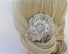 Couture Crystal Beaded Bridal Hair Clip Fascinator, Wedding Headpiece, Bridal…