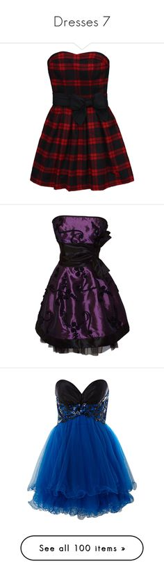"""Dresses 7"" by toni-the-tiger-9699 ❤ liked on Polyvore featuring dresses, vestidos, dresses/skirts, short dresses, short embroidered dress, bow dress, tartan plaid dresses, ribbon dress, purple and short purple dresses"