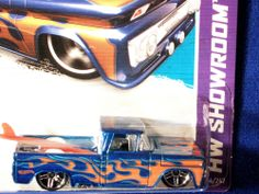 HOT WHEELS 2012 CUSTOM '62 CHEVY SURF BLUE FLAME GRAPHICS ON NEW 2013 CARD!!