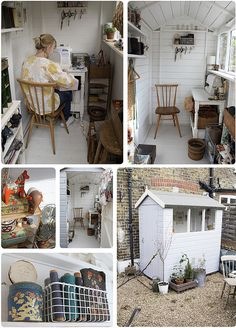 Sweet little sewing room. Could be used as art studio but that window would be a must. And I would need a door with a window.