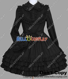 Gothic Lolita Punk Classic Black Cotton Victorian Dress    I would wear this with my short sassy cut...not kidding and a bangn' heel of some kind
