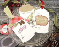 Holiday Foliage Tags by Lizzie Jones for Papertrey Ink (November 25 Days Of Christmas, Christmas Gift Tags, Christmas Paper, Winter Christmas, Xmas Gifts, Holiday Cards, Christmas Crafts, Christmas Ideas, Christmas Scrapbook