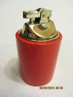 Vintage Table Lighter Round Red Never Lit Very Nice Spark