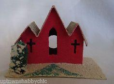Vtg Cardboard Red Putz Xmas Church Village House Light Cover Cross Trees JAPAN