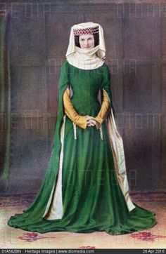 STOCK IMAGE, Ladys dress 14th century 1910 costume of a well-to-do woman from the reign of edward iii ruled 1327-1377, 1435753,01A58ZBN, Heritage Images - Search Stock Photos, Images, Pictures, Photography at Diomedia