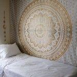 Gold and Silver Color Trippy Ombre Medallion Mandala Wall Tapestry