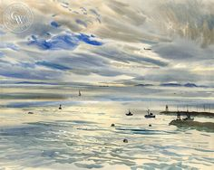 The Newport Jetty, California art by Rex Brandt. HD giclee art prints for sale at CaliforniaWatercolor.com - original California paintings, & premium giclee prints for sale