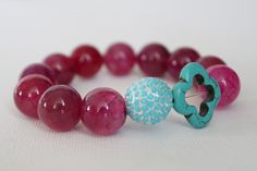 Fuschia clover bracelet - Modern & Preppy.  Fuschia pink agate beads accented with silver plated turquoise pave bead and turquoise clover. $35.00, via Etsy.