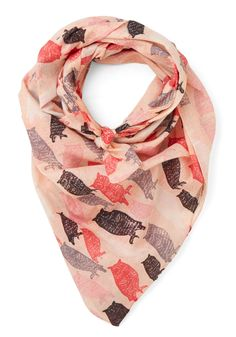 Fit for Flight Scarf. After draping this owl-printed scarf from Disaster Designs around your neck, you glide onto the plane, ready to soar gracefully to your next destination! #multi #modcloth
