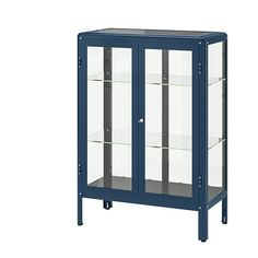 IKEA FABRIKÖR Glass-door cabinet Black-blue 81 x 113 cm With a glass-door cabinet you can show off as well as protect your glassware or your favourite collection. Glass Shelves In Bathroom, Floating Glass Shelves, Glass Cabinet Doors, Glass Door, Basement Bathroom, Bathroom Storage, Ikea Usa, Ikea Family, Shopping