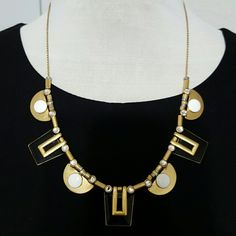 """Factory Half-moon Necklace Zinc casting, brass, enamel, glass stones, cubic zirconia. Light gold ox plating.  Length: 18"""" with a 3"""" extender chain for adjustable length.   In new condition.  Comes with a dust bag. J. Crew Jewelry Necklaces"""