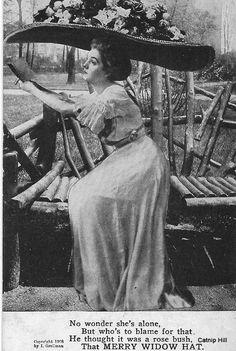 Vintage 1908 Postcard Merry Widow Hat