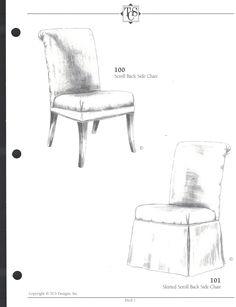 Elegant TCS Chair 100 Scroll Back $250 + 3 Yds 19 W X 27 D X 40