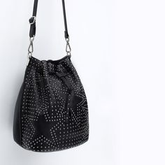 Image 4 of LEATHER BUCKET BAG WITH STUDS from Zara