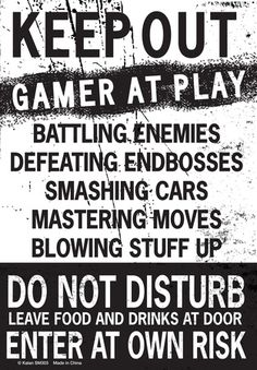Keep Out Gamer At Play… Tin Sign at AllPosters.com