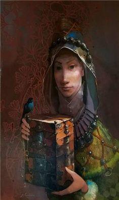 Merab Gagiladze  -  Secret Box Secret Box, The Secret, Georgia, Painting, Artist, Fictional Characters, Birds, Characters, Paintings