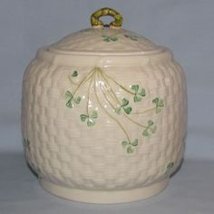 Belleek Shamrock lidded biscuit barrel - Belleek Irish Pottery ...