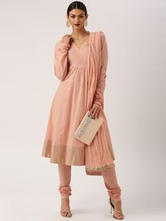 Buy All About You From Deepika Padukone Peach Embroidered Anarkali Churidar…