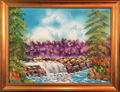 """The Waterfall""; Oil on canvas; 18"" h x 24"" w x .75"" d; Impressionism Landscape; Framed; Ready to hang. This alluring oil painting has it all with a vibrant waterfall, trees and rocky ledges in colors that are dramatic and breathtaking. This painting arrives framed in a beautiful solid wood frame in classic gold leaf and 2"" width. My paintings are made using only the highest quality luxury paints and applied on the finest museum quality surfaces. All of my artworks are created to bring…"