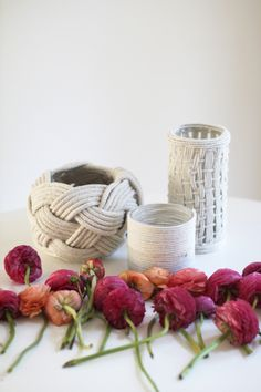 Rope vases - perfect for a nautical affair!